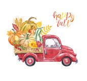Watercolor red harvest truck with pumpkins, apples, leaves. Autumn seasonal vegetables and fruits in a car, isolated. Hand painted