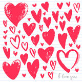 Watercolor red heart collection Royalty Free Stock Images