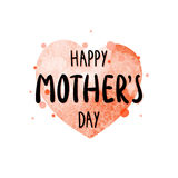 Watercolor red heart with inscription Happy Mother`s Day in hand-writing style. Vector template for greeting cards, posters, invitations, prints Royalty Free Stock Photos