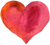 Watercolor red heart. Watercolor heart with light and shade, painted by hand stock illustration