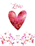 Watercolor red heart.Love background. Royalty Free Stock Images