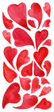 Watercolor red heart love symbol icon  set Royalty Free Stock Photo
