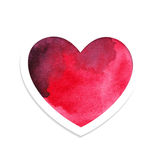 Watercolor red heart for Valentines day Stock Photography