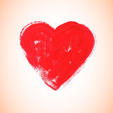 Watercolor red heart, vector illustration Stock Photos