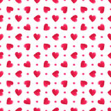 Watercolor red hearts pattern. Seamless vector Stock Photo