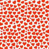 Watercolor red hearts Saint Valentine's Day seamless pattern.  Royalty Free Stock Photos