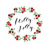 Holly Berries Christmas Card with Calligraphy Text. Watercolor Red Holly Berries with Green Leaves Wreath and Christmas Calligraphy Greeting Text. Christmas Card vector illustration