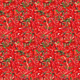 Watercolor red hot chili chilli spicy pepper seamless pattern texture background.  Stock Photos