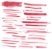 Watercolor red ink strokes Stock Images