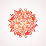 Watercolor red lace pattern. Vector element. Mandala Royalty Free Stock Images