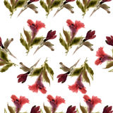 Watercolor red lilies pattern Royalty Free Stock Photos