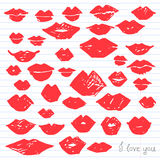 Watercolor red lips collection. Hand-drawn red watercolor lips art collection. Painted vector romantic love illustration set Royalty Free Stock Photo