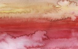 Watercolor red and orange bright abstract background stock photography
