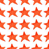 Watercolor red orange five pointed star symbol seamless pattern background Stock Photography