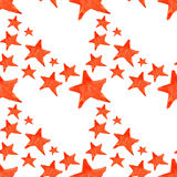 Watercolor red orange five pointed star symbol seamless pattern background Royalty Free Stock Photo