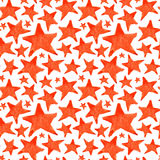 Watercolor red orange five pointed star symbol seamless pattern background Royalty Free Stock Image