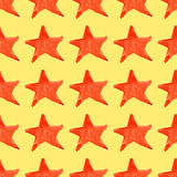 Watercolor red orange five pointed star symbol seamless pattern background Stock Photo