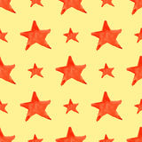 Watercolor red orange five pointed star symbol seamless pattern background Royalty Free Stock Photography