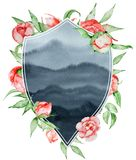 Watercolor crest Romantic frame with flowers Card template. Watercolor peonies with leaves on the grey background stock illustration