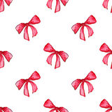 Watercolor red pink bow tape ribbon gift seamless pattern background Stock Images
