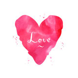 Watercolor red pink heart vintage vector background and card Stock Photo