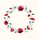 Watercolor red poppies wreath Stock Images