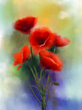 Watercolor red poppy flowers painting. Flower paint in soft color and blur style, Soft green and purple-blue background. Spring floral seasonal nature Royalty Free Stock Photo