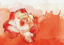 Watercolor red rose abstract background. Red rose abstract background, computer generated illustration watercolor style Stock Photos