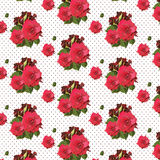 Watercolor Red Rose pattern on lace background Royalty Free Stock Photos