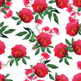 Watercolor red rose seamless vector pattern Royalty Free Stock Photo