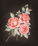 Watercolor red roses on dark brown background. Royalty Free Stock Images