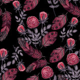 Watercolor red roses and feathers on black Stock Photography