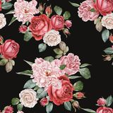 Watercolor red roses and peonies. Seamless pattern. Floral seamless pattern with watercolor red and white roses and pink peonies on black background vector illustration
