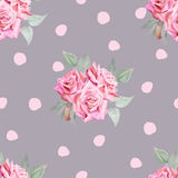 Watercolor red roses seamless pattern with polka dot. royalty free illustration