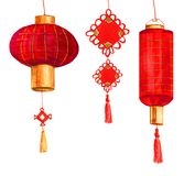 Watercolor red round and cylindrical Chinese paper lanterns and decoration. Hand drawn red round and cylindrical Chinese paper lanterns and decoration for Stock Photography
