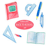 Watercolor red school supplies Stock Images