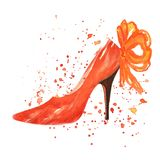 Watercolor red shoe with red bow. Watercolor red shoe decorated with red ribbon and watercolor splashes on white background Royalty Free Stock Image