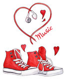 Watercolor red sneakers and heart shaped earphones love music isolated Stock Photography