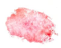 Watercolor red splash label, background. Handmade painting royalty free stock photos