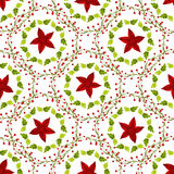 Watercolor red star and green leaves seamless pattern. Hand paint background. Can be used for wrapping, textile and package design Stock Photos