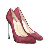 Watercolor red suede high-heeled shoes. Stiletto shoes isolated on white background. Fashion illustration for design. Party print Royalty Free Stock Photo