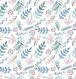 Watercolor Red and Yellow Berries, Light Blue And Green Leaves Seamless Pattern Stock Image