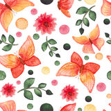 Watercolor Red and Yellow Butterflies, Flowers and Green Dots Repeat Pattern Stock Photos