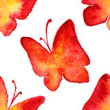 Watercolor red yellow butterfly seamless pattern background Royalty Free Stock Photo