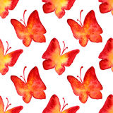 Watercolor red yellow butterfly seamless pattern background Stock Images