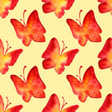 Watercolor red yellow butterfly seamless pattern background Royalty Free Stock Images