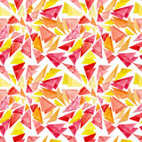 Watercolor Red And Yellow Triangles Seamless Pattern Stock Images