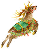 Watercolor reindeer illustration. Christmas card. Stock Images