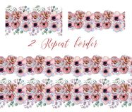 Watercolor repeat borders with peonies and anemone flowers. Hand drawn illustration vector illustration