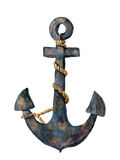 Watercolor retro anchor with rope. Illustration isolated on white background. For design, prints or background Stock Image